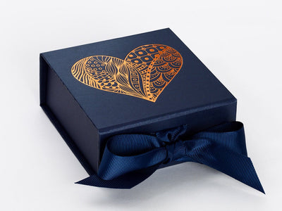 Navy Blue Small Folding Gift Box with Copper Foil Printed Heart Design