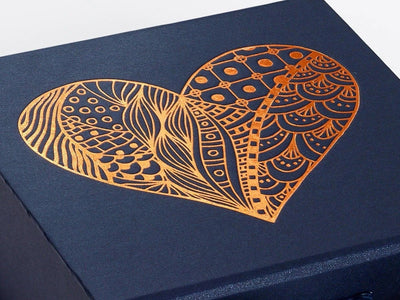 Navy Blue Gift Box with Copper Foil Custom Printed Heart Design