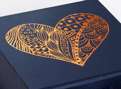 Navy Blue Foldable Gift Box with Custom Printed Copper Foil Design