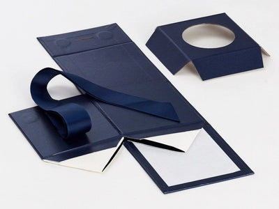 Navy Blue Small Folding Gift Box Supplied Flat with Insert