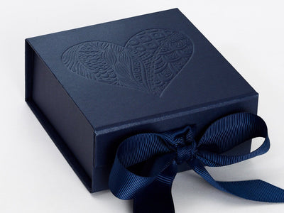 Navy Blue Small Gift Box with Custom Debossed Heart Design