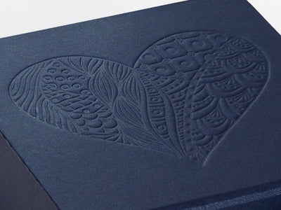 Navy Blue Gift Box with Custom Debossed Design From Foldabox