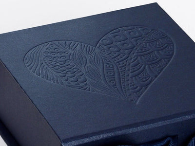 Navy Blue Gift Box with Custom Debossed Design