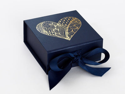 Navy Blue Small Gift Box with Gold Foil Custom Printed Design