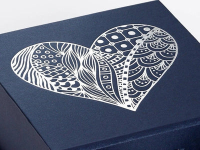 Navy Blue Gift Box with Custom Silver Foil Printed Design