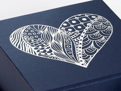 Navy Blue Gift Box with Silver Foil Custom Printed Heart Design