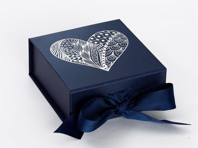 Navy Blue Small Folding Gift Box with Silver Foil Custom Printed Heart Design