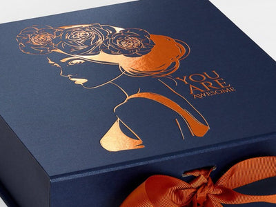 Navy Blue Gift Box with Custom Printed Copper Foil Design and Copper Ribbon