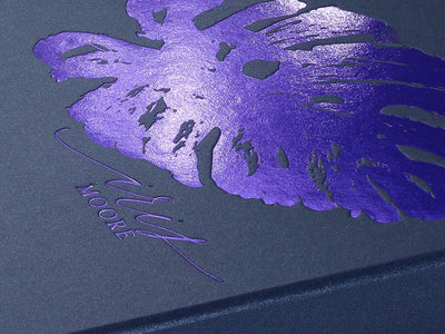 Navy Blue Gift Box with Purple Foil Custom Printed Design