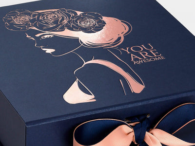 Navy Blue Gift Box with Custom Printed Rose Gold Foil Design and Rose Gold Ribbon