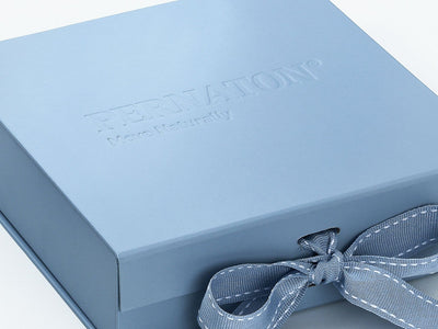 Pale Blue Folding Goft Box Featured with Custom Debossed Logo