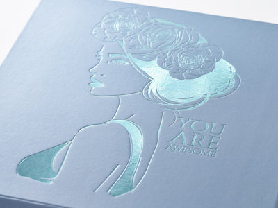Example of Mint Green Foil Print onto Pale Blue Gift Box