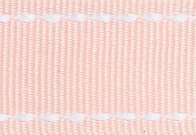 Pale Pink Grosgrain Ribbon with White Saddle Stitched Edges