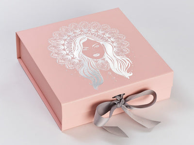 Pale Pink Gift Box Featuring Silver Foil Custom Logo and Silver Grey Ribbon