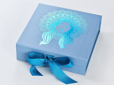 Pale Blue Folding Gift Box with Methyl Blue Grosgrain Ribbon