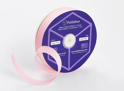 Pale Pink 50m x 2.5cm Grosgrain Ribbon Roll for gift wrapping folding boxes