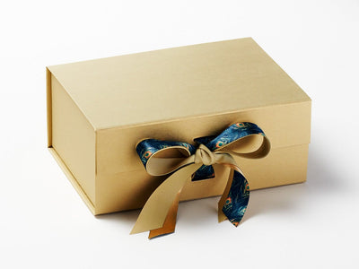 Peacock Feather Printed Ribbon Featured on Gold Gift Box