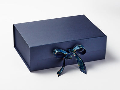 Peacock Feather Printed Ribbon on Navy Blue Gift Box