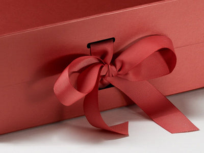 Pearl Red A5 Deep Gift Boxes with Slots and changeable ribbon detail