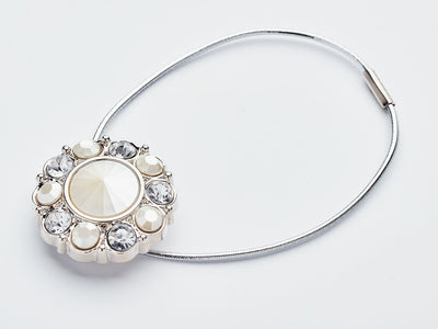 Pearl and Diamond Flower Gemstone Closure with Silver Elastic Loop