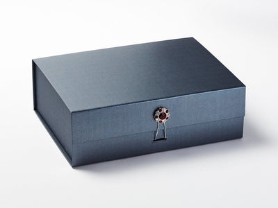 Pewter Gift Box with Ruby and Diamond Flower Gemstone Closure