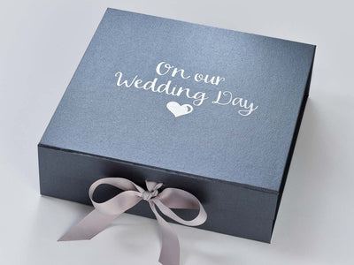Pewter Gift Box with Silver Foil Wedding Design and Silver Ribbon by Beau and Bella