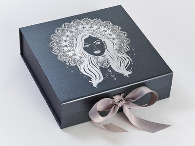 Pewter Gift Box with Silver Foil Boho Diva Design and Silver Ribbon