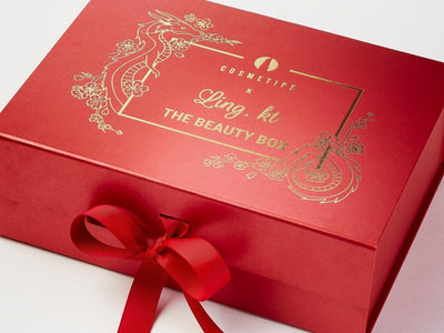 Red Luxury Gift Box Featured with Custom Gold Foil Design to Lid