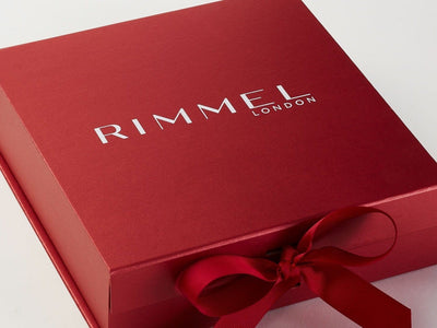 Red Folding Gift Box with 1 Colour Custom Printed Logo