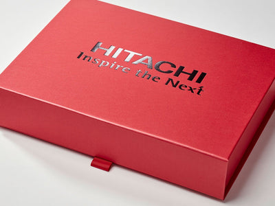 Red A4 Shallow Gift Box with Custom Black Foil Hitachi Logo