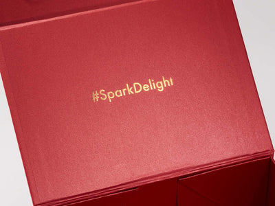 Red Gift Box with Custom Rose Gold Foil Print To Inside Lid