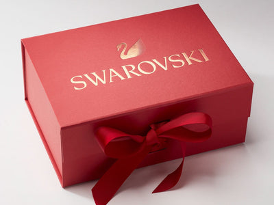 Red A5 Deep Gift Box with Custom Rose Gold Foil Logo