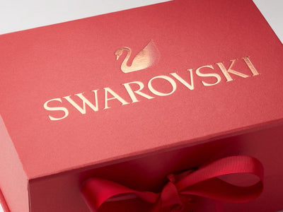 Red Gift Box with Custom Rose Gold Foil Print Design
