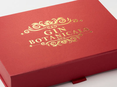 Red Shallow Gift Box with Custom Gold Foil Logo