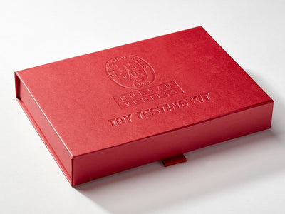 Red Shallow Gift Box with Custom Debossed Logo