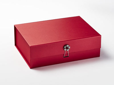 Red Gift Box with Ruby and Diamond Flower Gemstone Closure