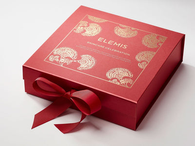 Red Gift Box with Custom Gold Foil Print Design
