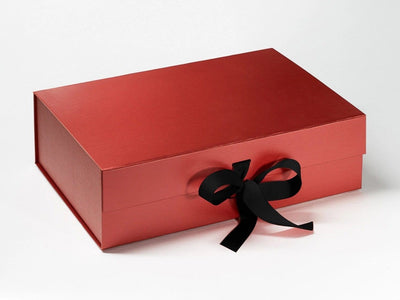 Red Pearl A4 Deep Gift Box with Black Grosgrain Ribbon