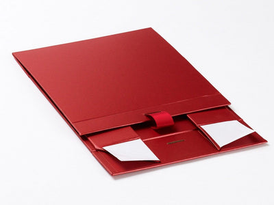 Red Medium Folding Gift Box Supplied Flat with Ribbon From Foldabox