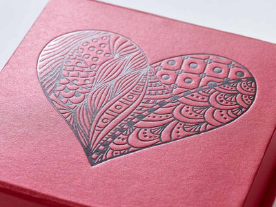Red Folding Gift Box with Black Foil Heart Design to Lid