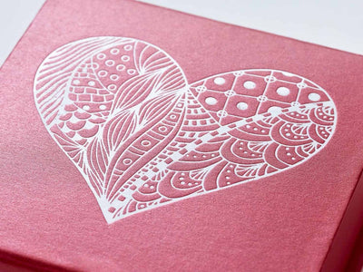 Red Folding Gift Box with Custom Printed White Foil Heart Design To Lid
