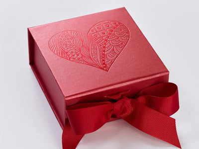 Red Small Folding Gift Box with Red Foil Tone on Tone Heart Design