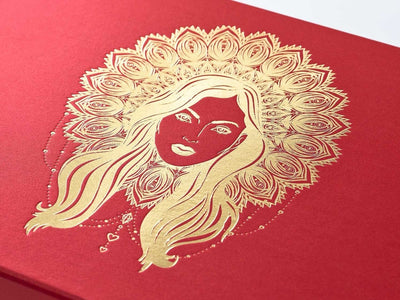 Red Gift Box with Gold Foil Printed Boho Diva Design