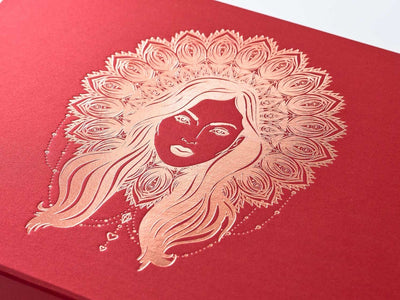 Luxury Red Folding Gift Box with Rose Gold Foil Boho Diva Design to Lid