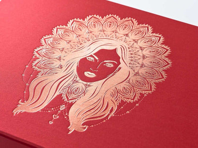 Red gift box with foil printed rose gold Boho Diva Design