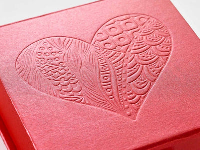 Red Folding Gift Box with Custom Debossed Heart Design