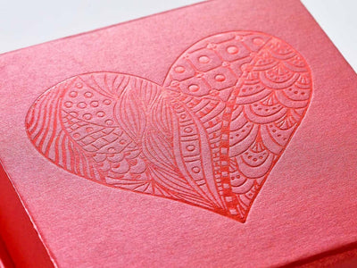 Red Folding Gift Box with Red Tone on Tone Foil Heart Design
