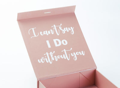 Rose Gold Gift Box with Inside Custom Printed White Text