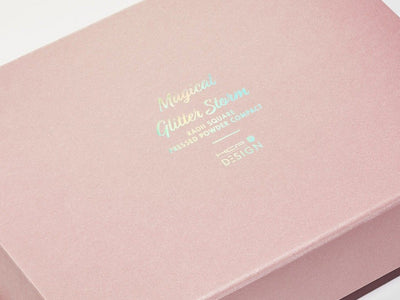 Rose Gold Gift Box Featuring Rainbow Foil Custom Printed Design To Lid