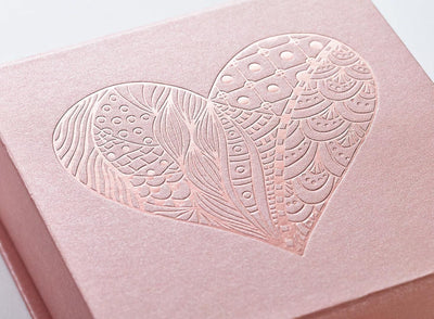 Rose Gold Gift Box with Tone on Tone Rose Gold Foil Design
